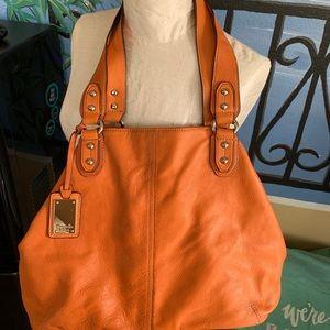Orange leather Tignanello shoulder bag/tote
